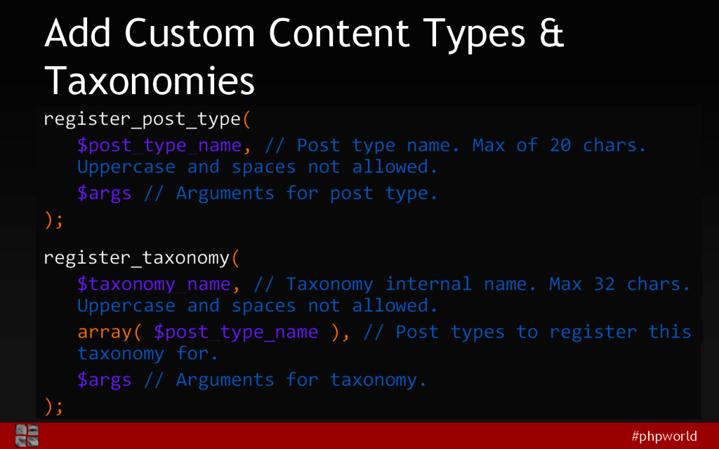 #phpworld Add Custom Content Types & Taxonomies...