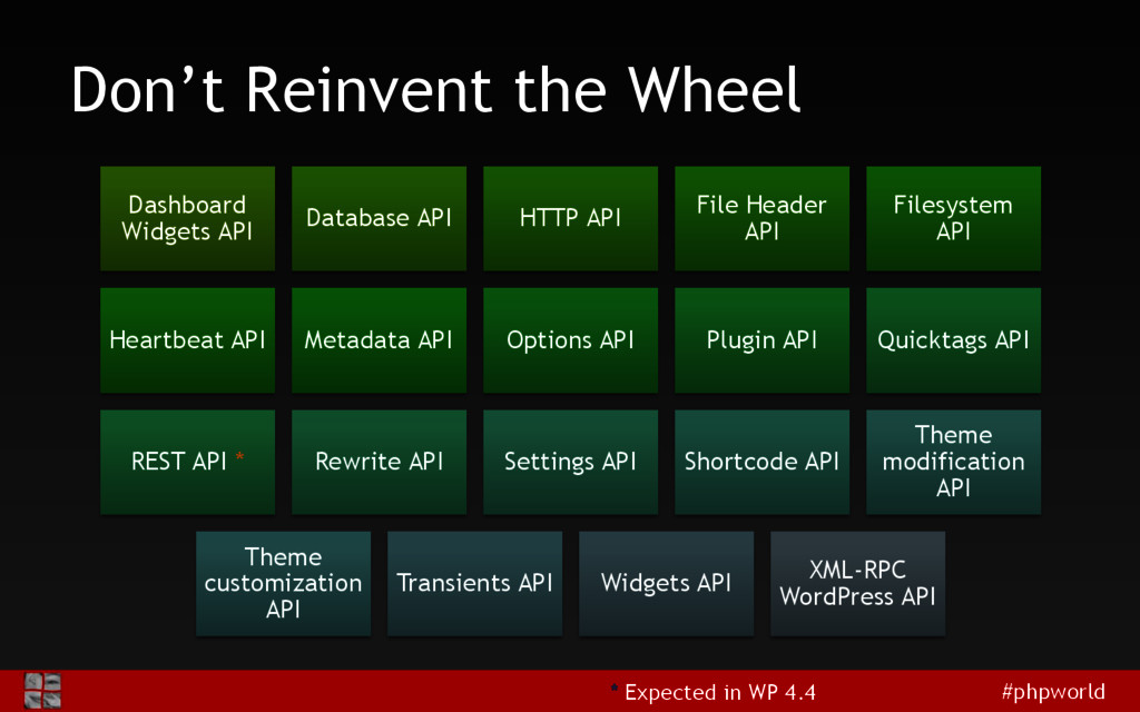 #phpworld Don't Reinvent the Wheel Dashboard Wi...