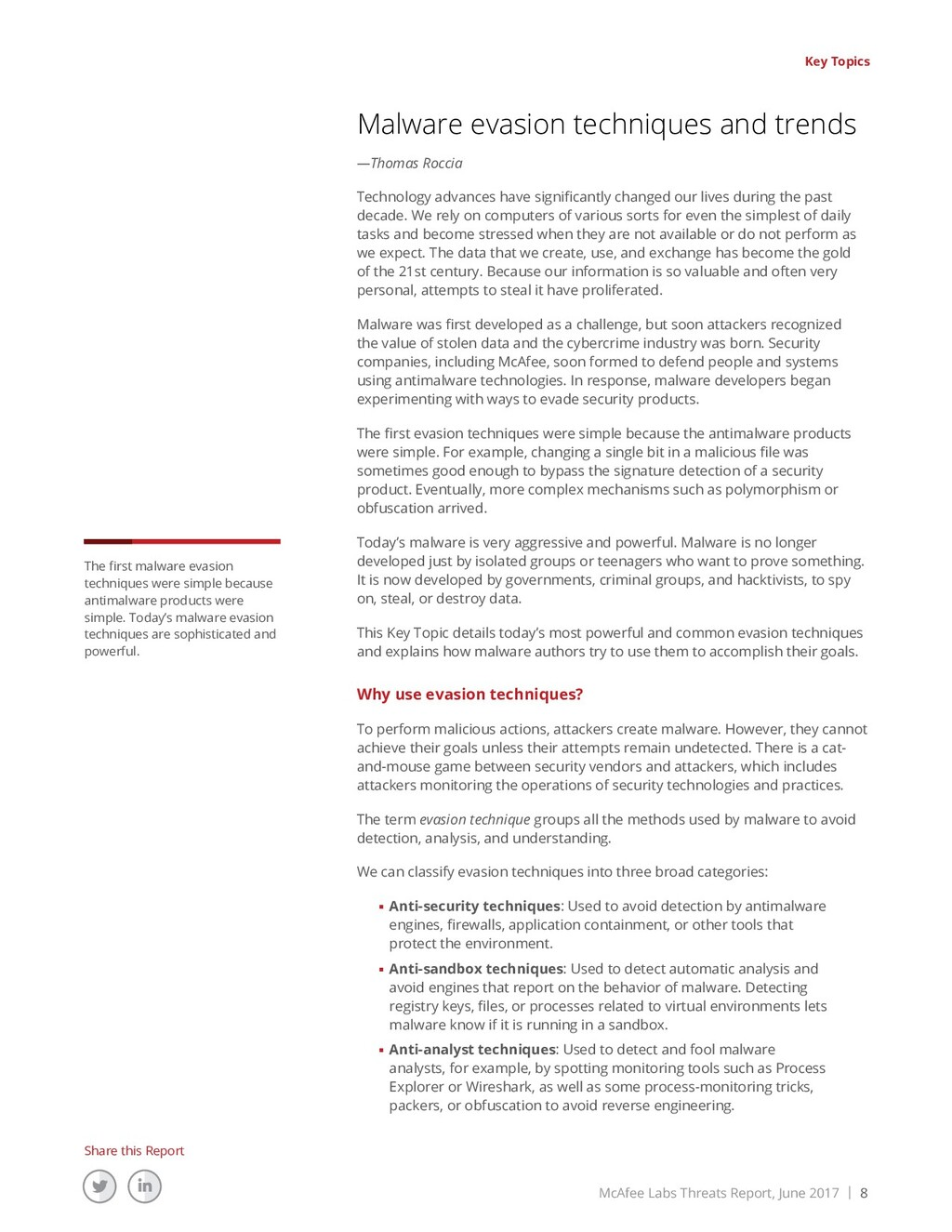 McAfee Labs Threats Report, June 2017 | 8 Share...