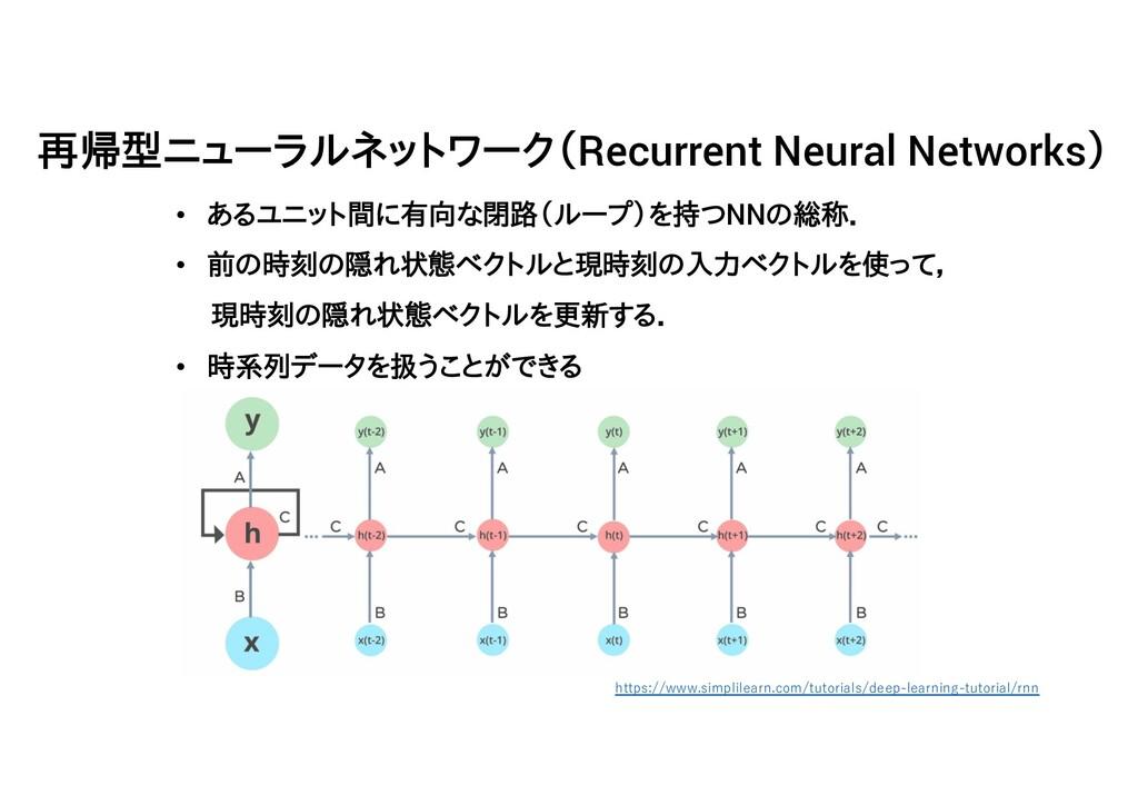 • あるユニット間に有向な閉路(ループ)を持つNNの総称. • 前の時刻の隠れ状態ベクトルと現...