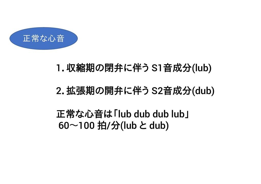 1.収縮期の閉弁に伴う S1音成分(lub) 2.拡張期の開弁に伴う S2音成分(dub) 正...