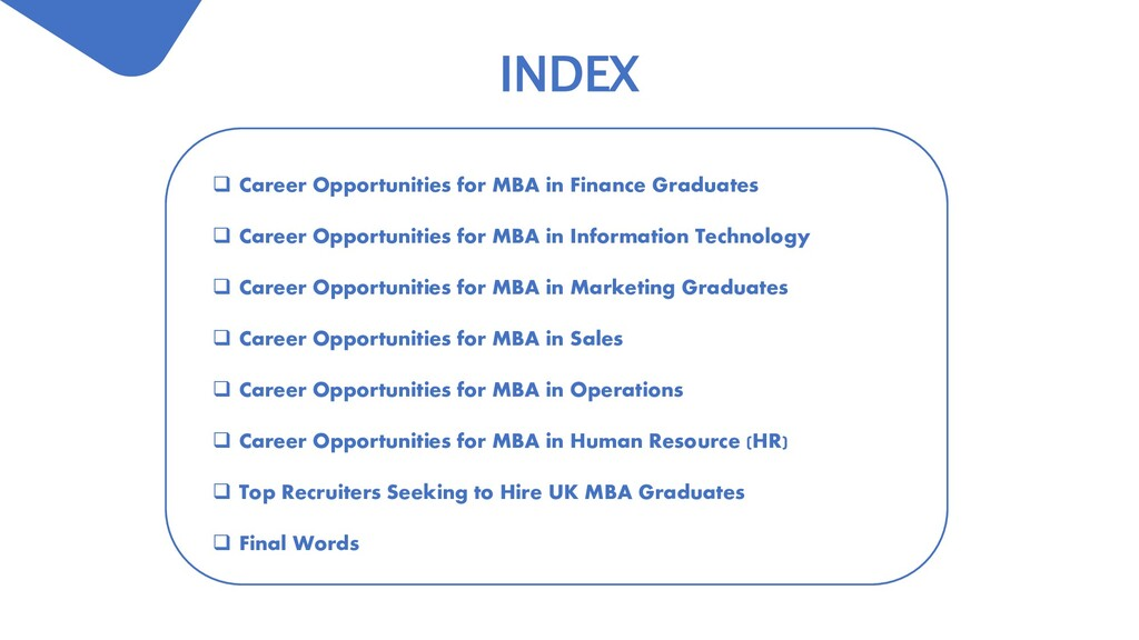 INDEX  Career Opportunities for MBA in Finance...