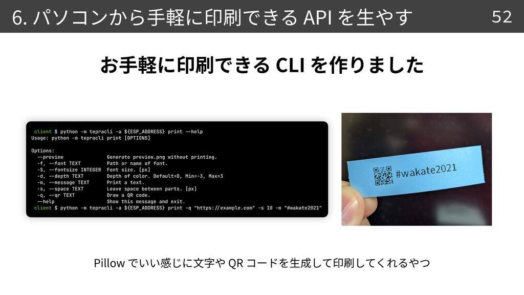 6. API 52 0 5 CLI Pillow QR