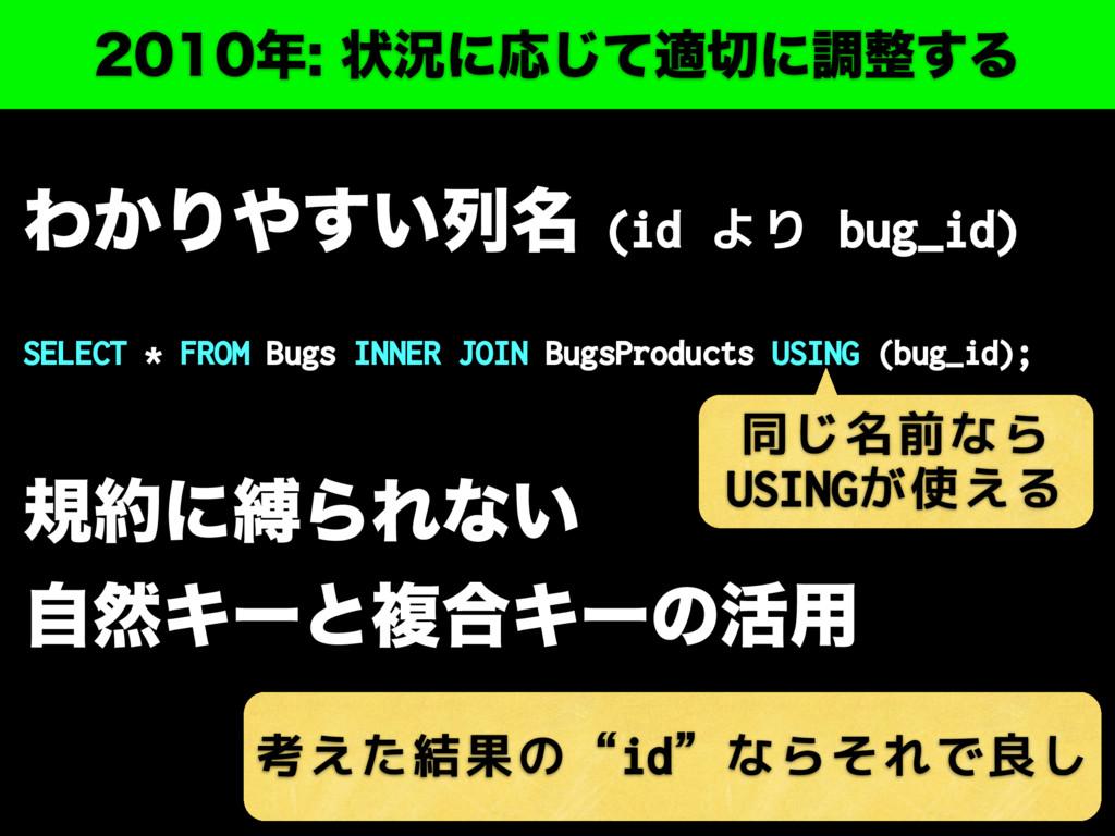 ঢ়گʹԠͯ͡దʹௐ͢Δ Θ͔Γ͍͢ྻ໊(id より bug_id) S...