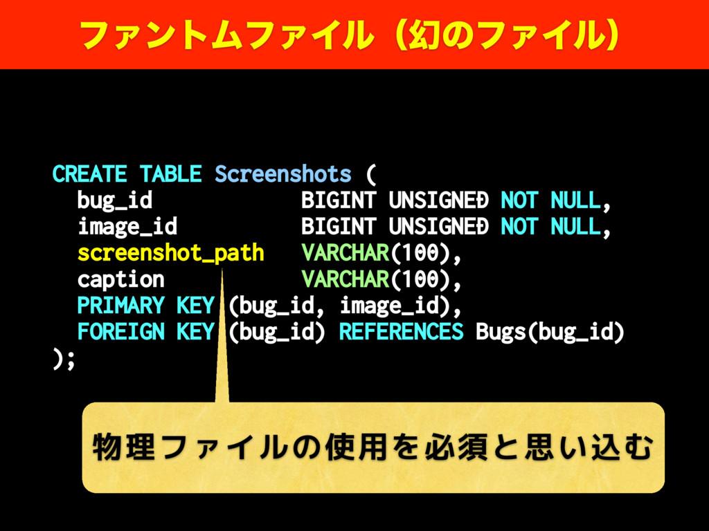 CREATE TABLE Screenshots ( bug_id BIGINT UNSIGN...