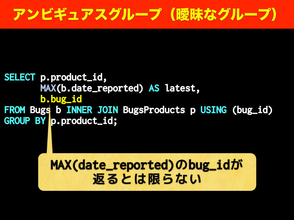 SELECT p.product_id, MAX(b.date_reported) AS la...