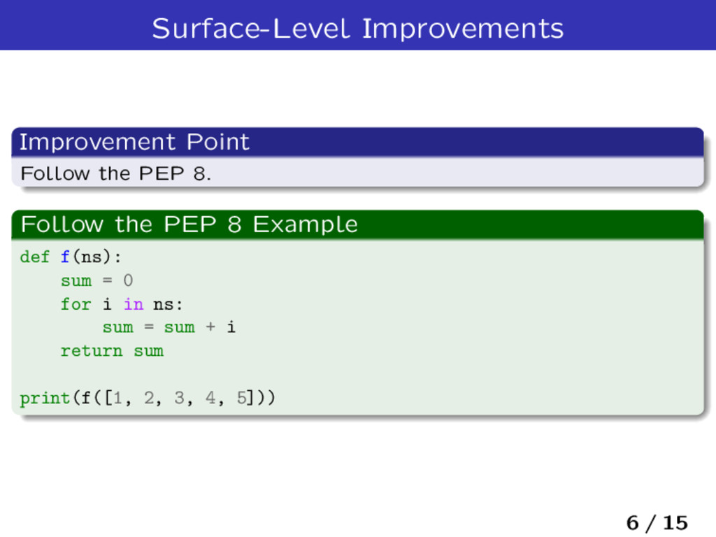 Surface-Level Improvements Improvement Point Fo...