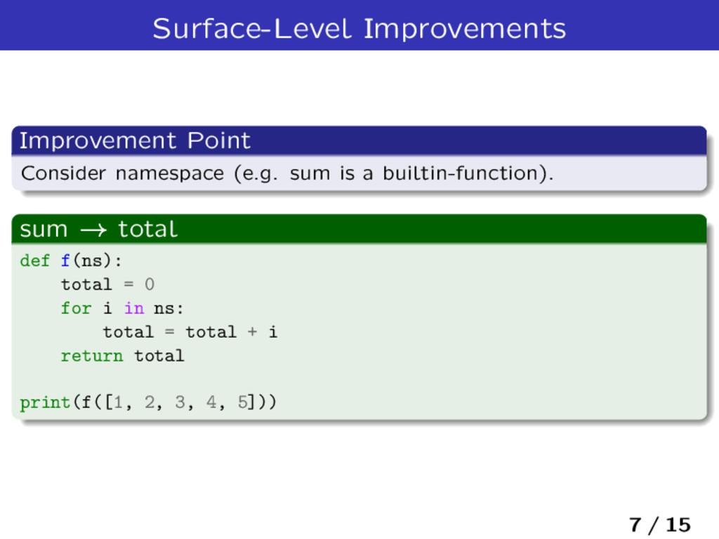 Surface-Level Improvements Improvement Point Co...