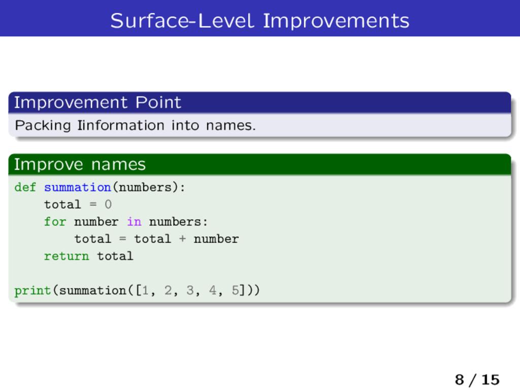 Surface-Level Improvements Improvement Point Pa...