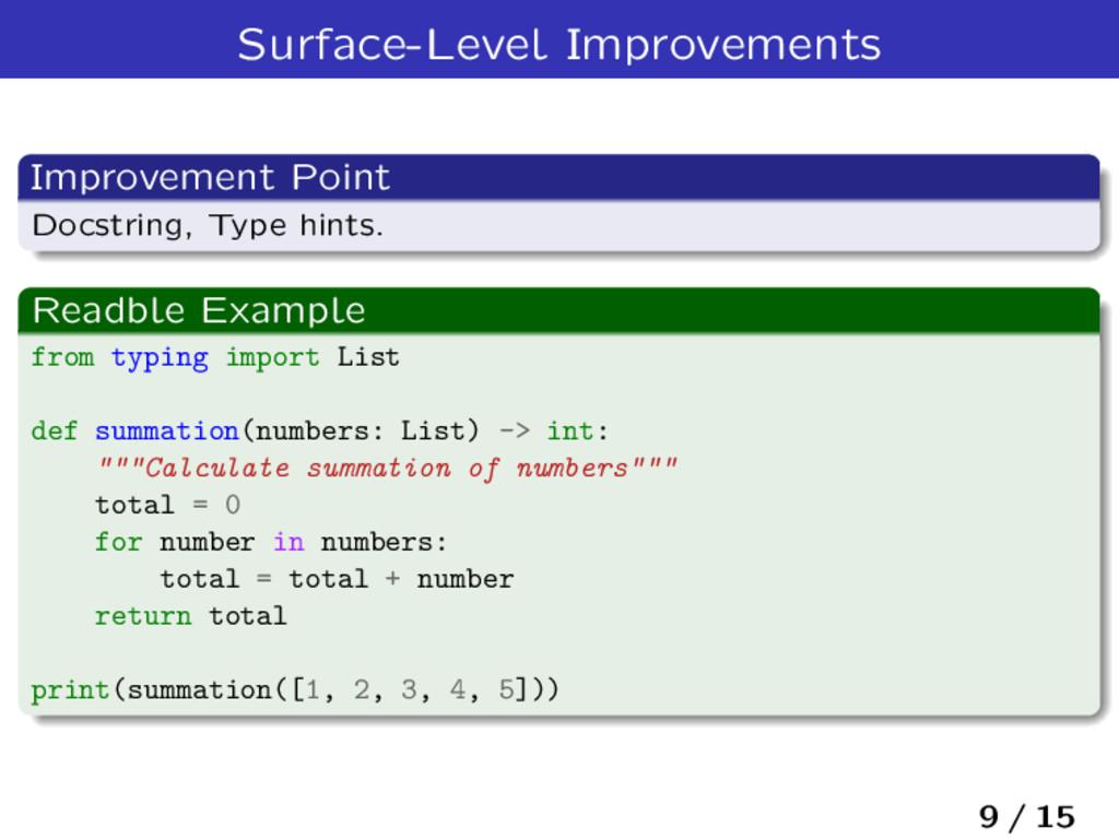 Surface-Level Improvements Improvement Point Do...
