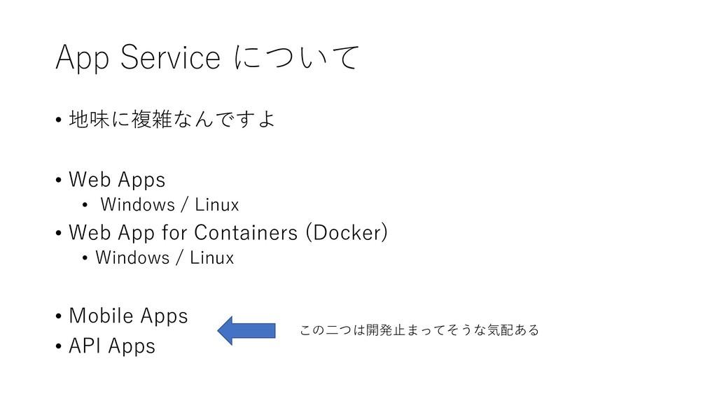 App Service について • 地味に複雑なんですよ • Web Apps • Wind...