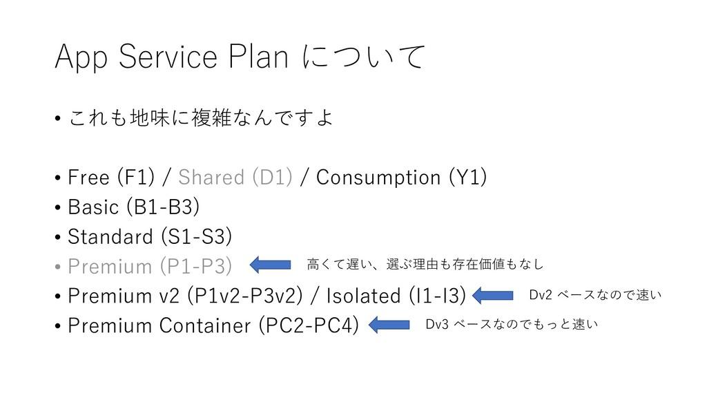 App Service Plan について • これも地味に複雑なんですよ • Free (F...