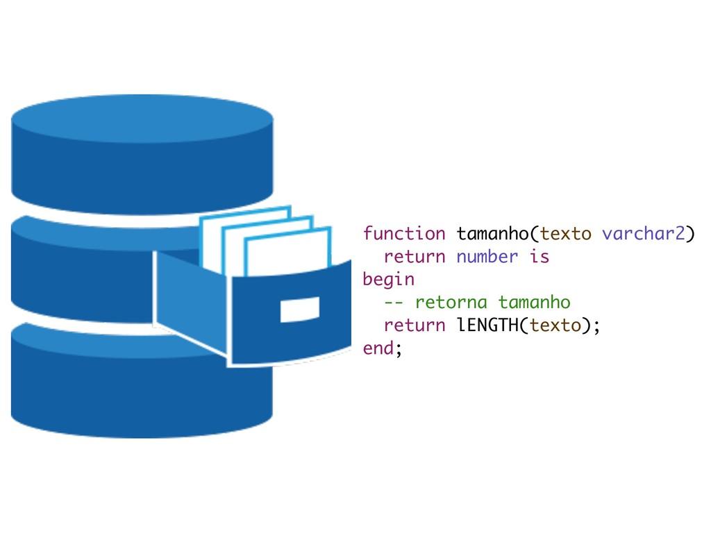 function tamanho(texto varchar2) return number...