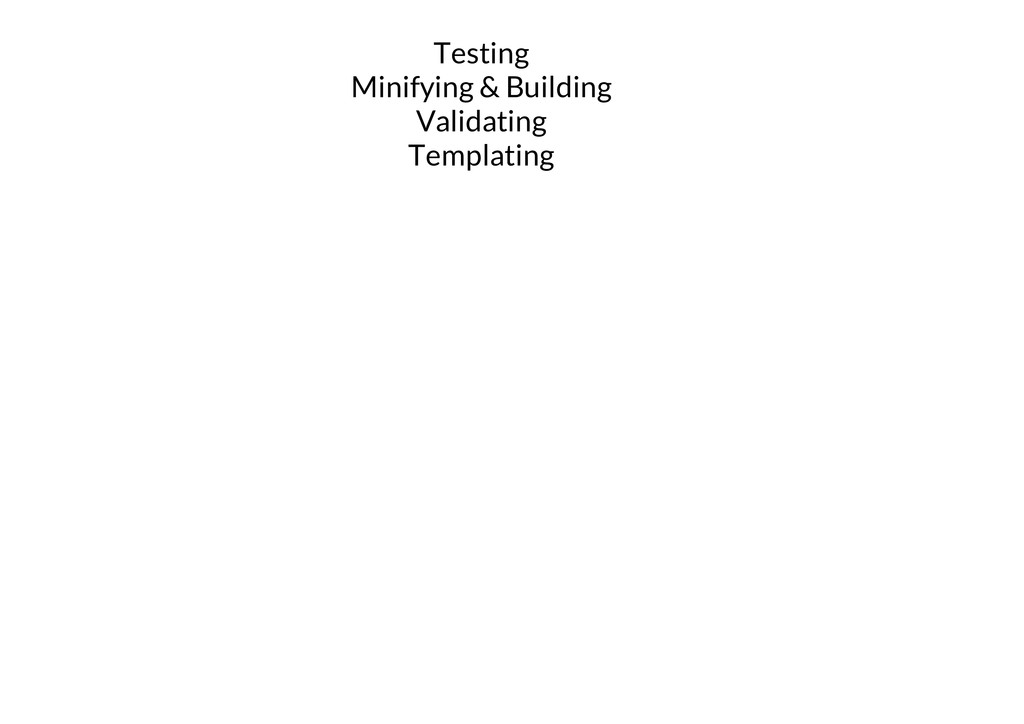 Testing Minifying & Building Validating Templat...