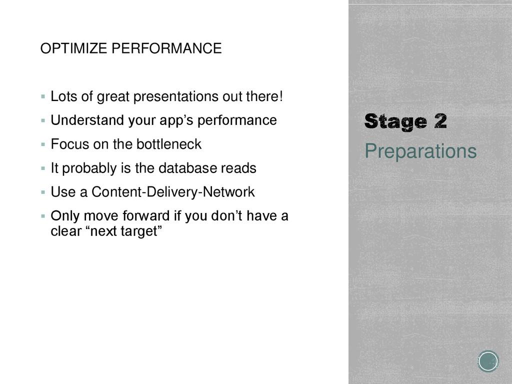 OPTIMIZE PERFORMANCE  Lots of great presentati...