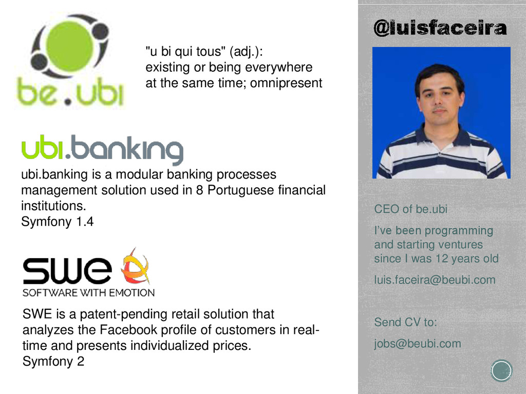 CEO of be.ubi I've been programming and startin...