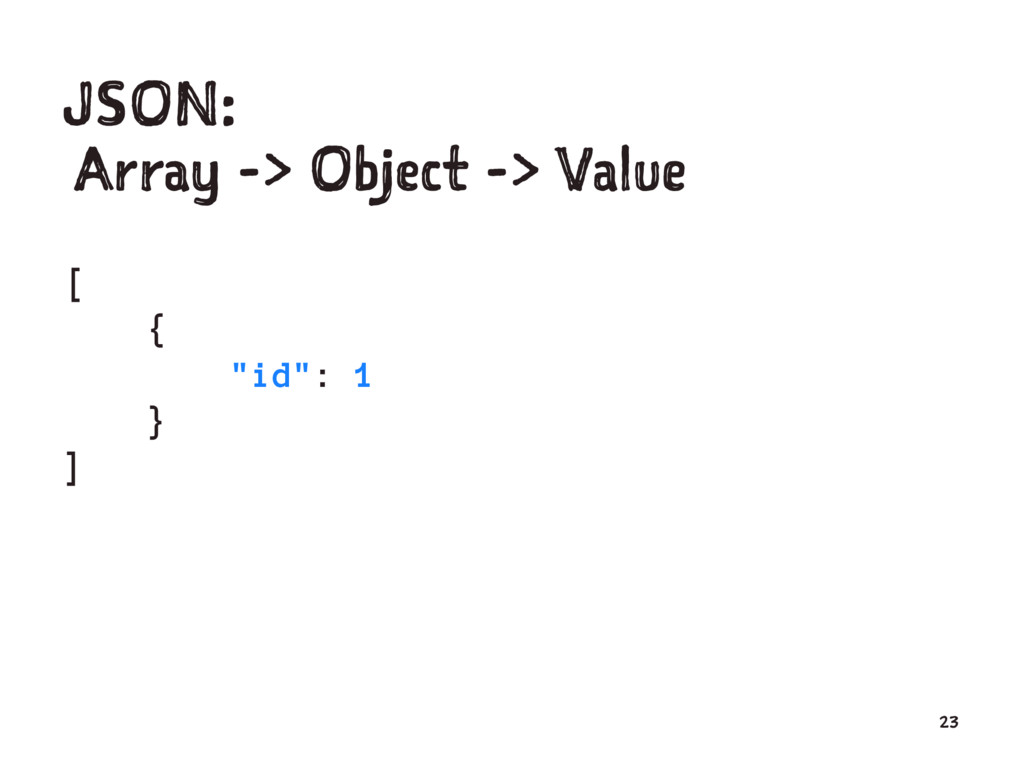 "JSON: Array -> Object -> Value [ { ""id"": 1 } ] ..."