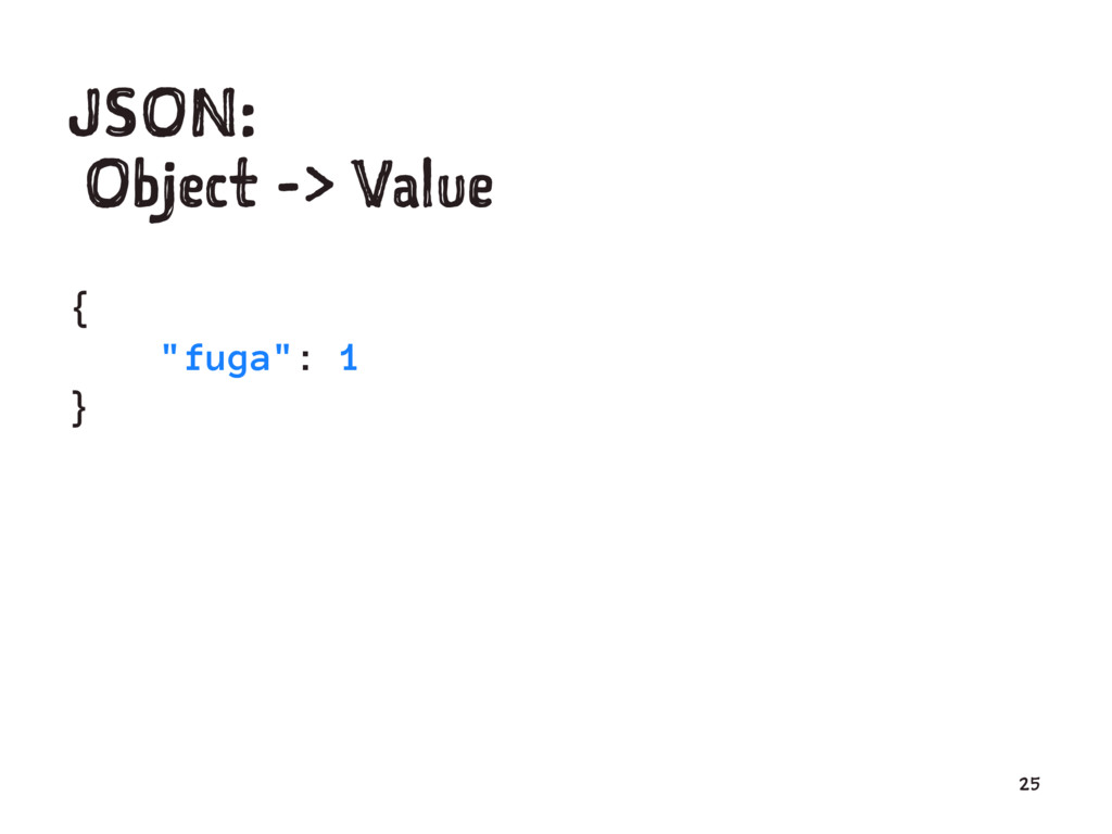 "JSON: Object -> Value { ""fuga"": 1 } 25"