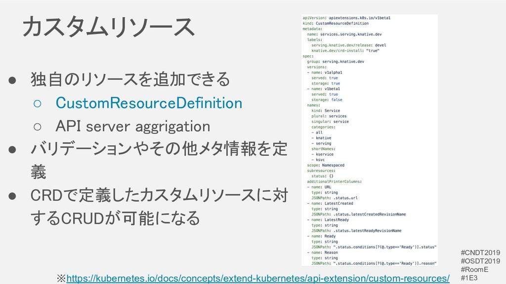 カスタムリソース ● 独自のリソースを追加できる ○ CustomResourceDefi...