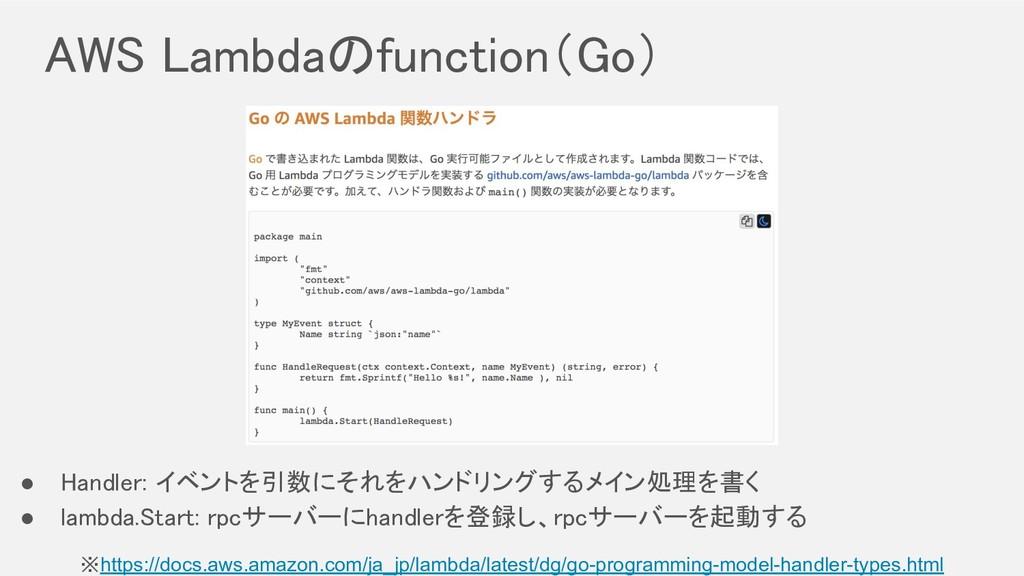 AWS Lambdaのfunction(Go) ※https://docs.aws.amaz...