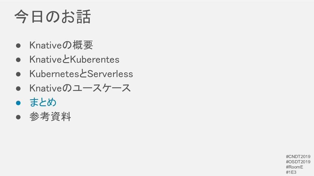 今日のお話 ● Knativeの概要 ● KnativeとKuberentes ● Ku...