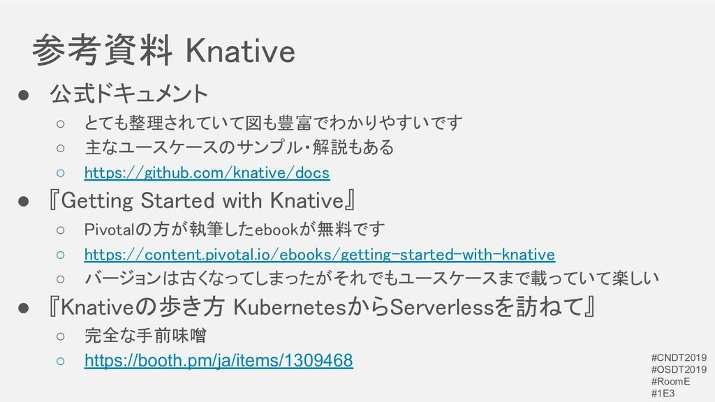 参考資料 Knative ● 公式ドキュメント ○ とても整理されていて図も豊富でわかりや...