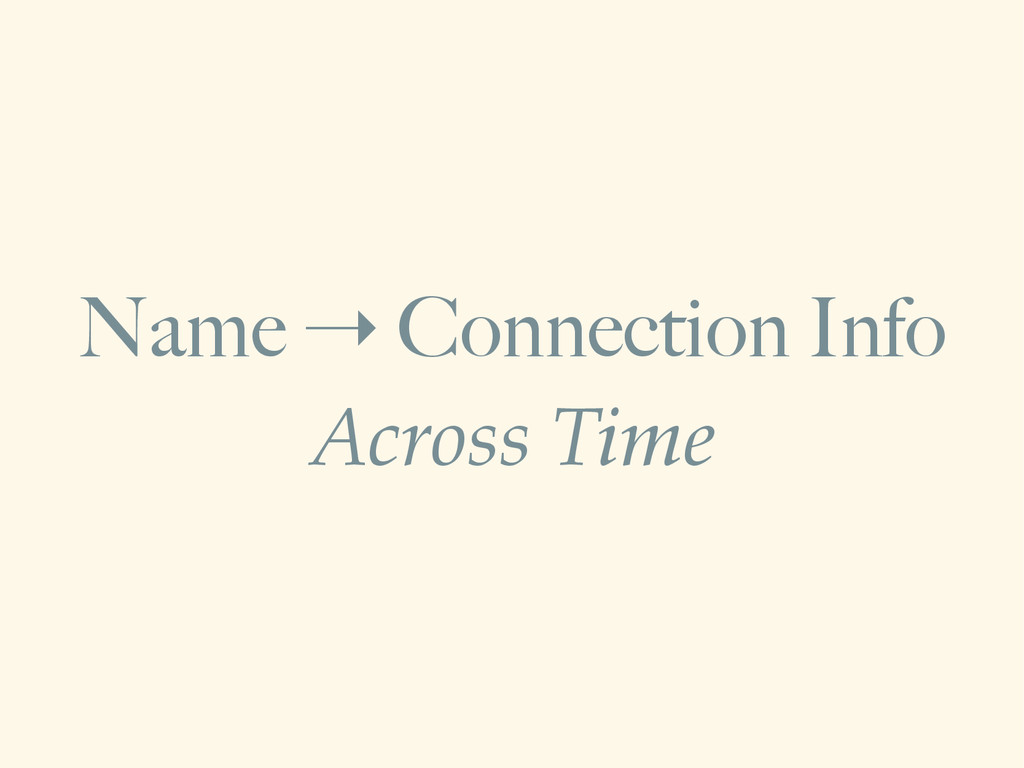 Name ➝ Connection Info Across Time