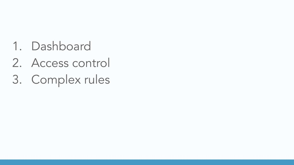 1. Dashboard 2. Access control 3. Complex rules