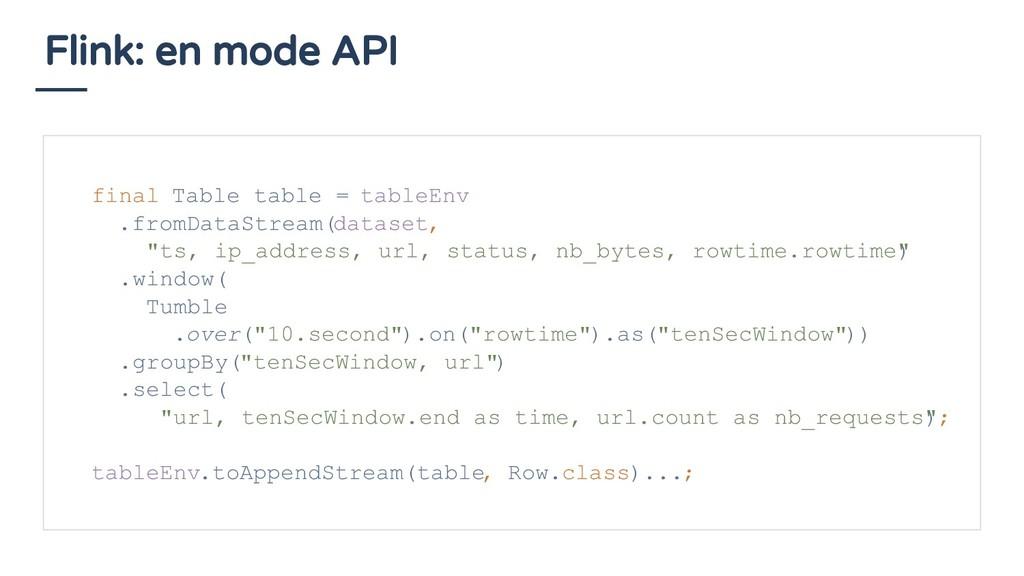 Flink: en mode API final Table table = tableEnv...