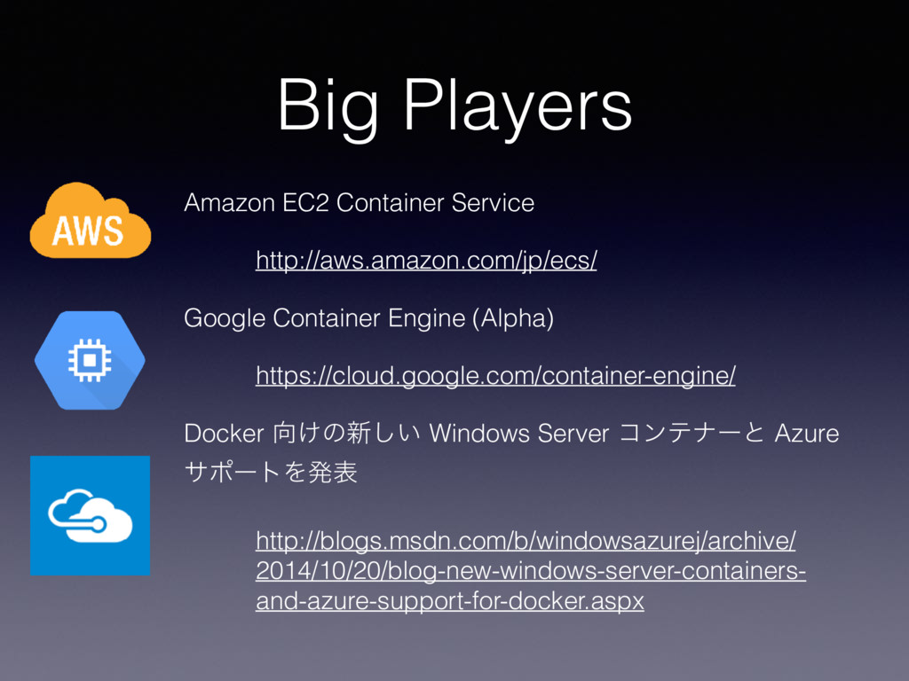 Big Players Amazon EC2 Container Service http:/...
