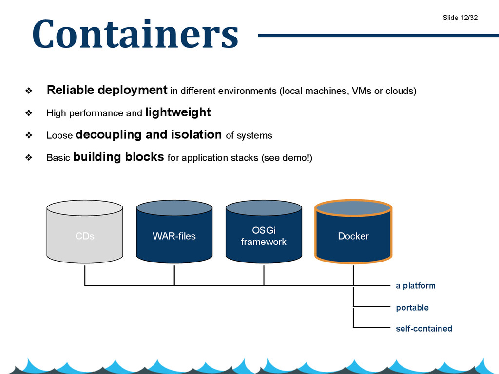 Containers ❖ Reliable deployment in different e...