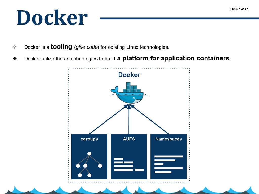 Docker ❖ Docker is a tooling (glue code) for ex...
