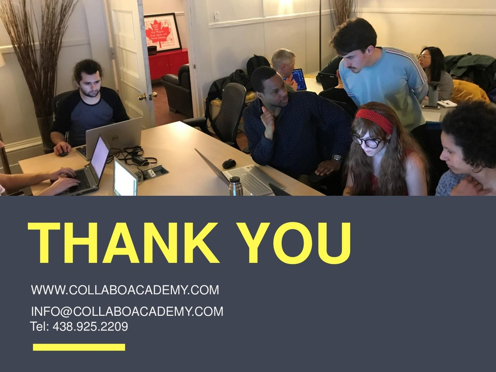 THANK YOU INFO@COLLABOACADEMY.COM Tel: 438.925....