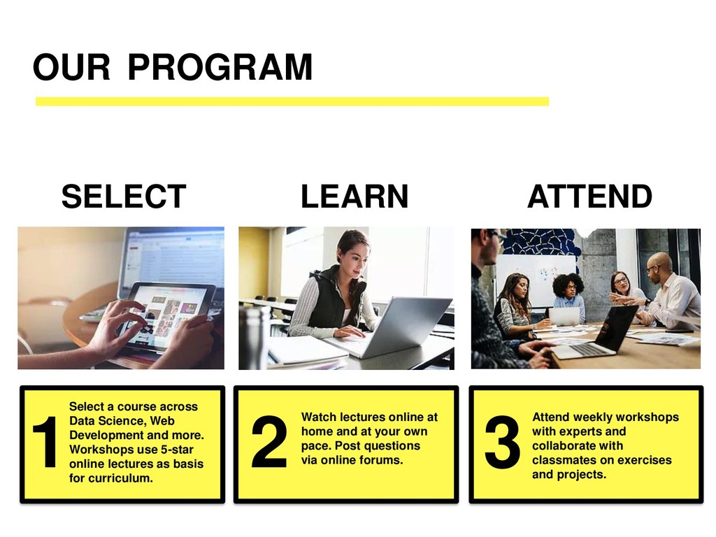 OUR PROGRAM Select a course across Data Science...