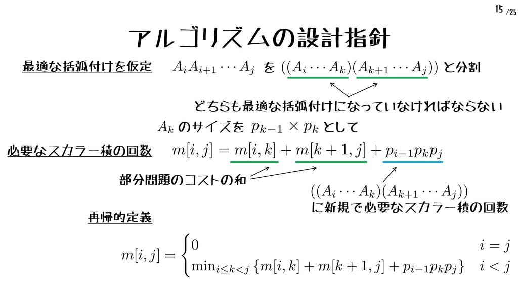 /25 15 アルゴリズムの設計指針 最適な括弧付けを仮定 AiAi+1 · · · Aj <...