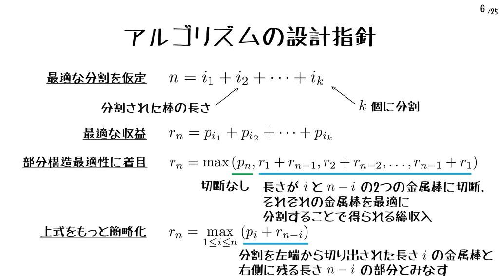 /25 6 アルゴリズムの設計指針 最適な分割を仮定 n = i1 + i2 + · · · ...