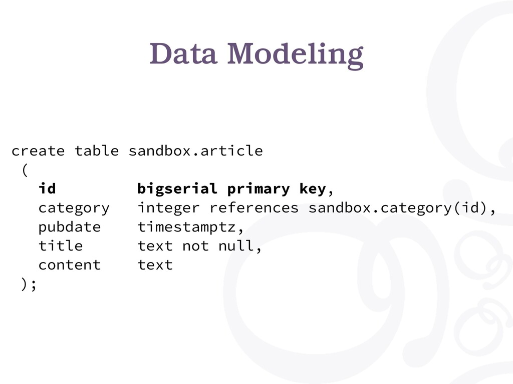 Data Modeling create table sandbox.article ( id...