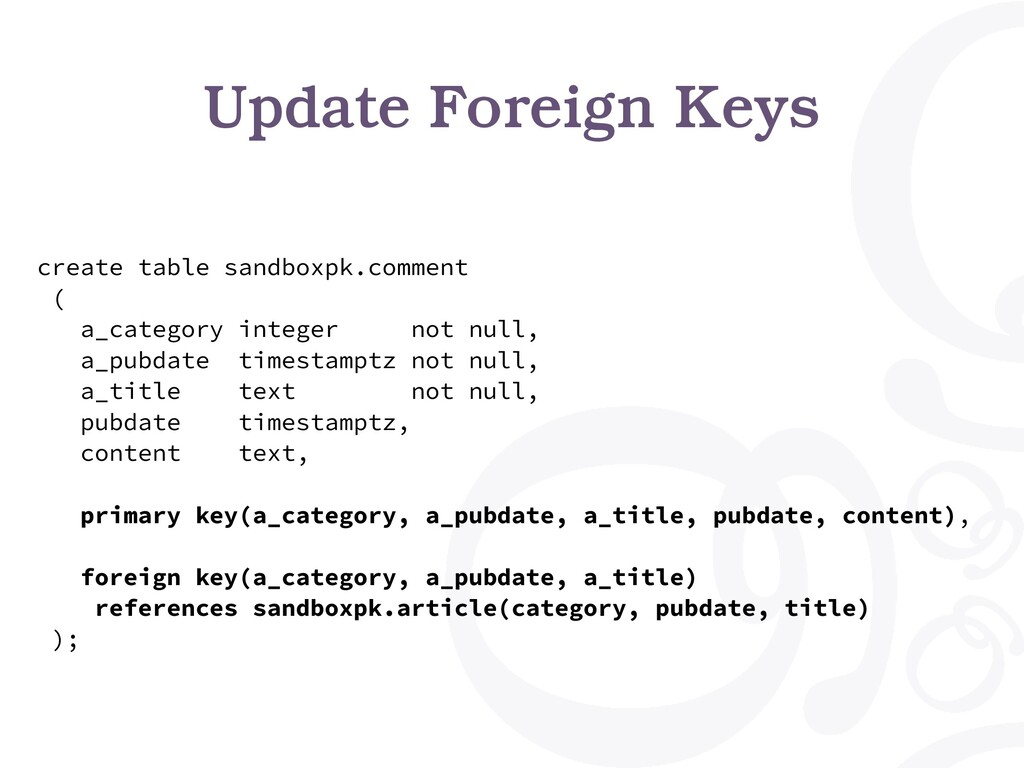 Update Foreign Keys create table sandboxpk.comm...