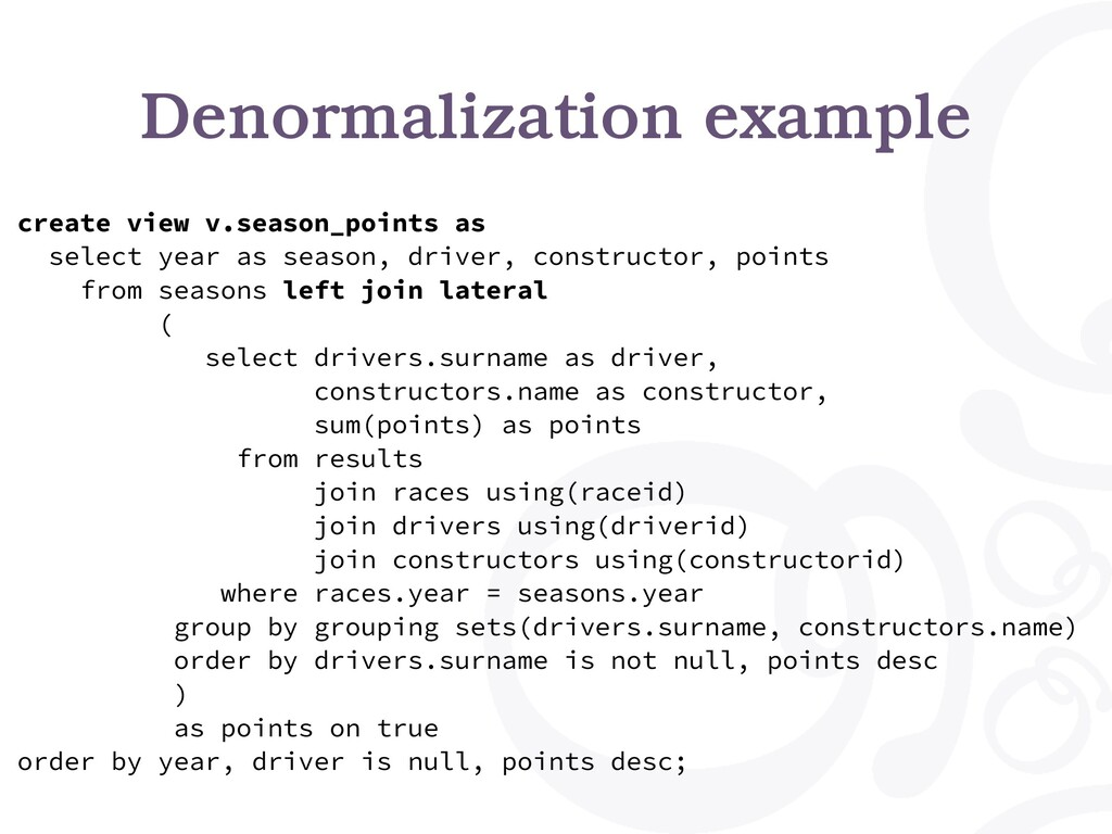 Denormalization example create view v.season_po...