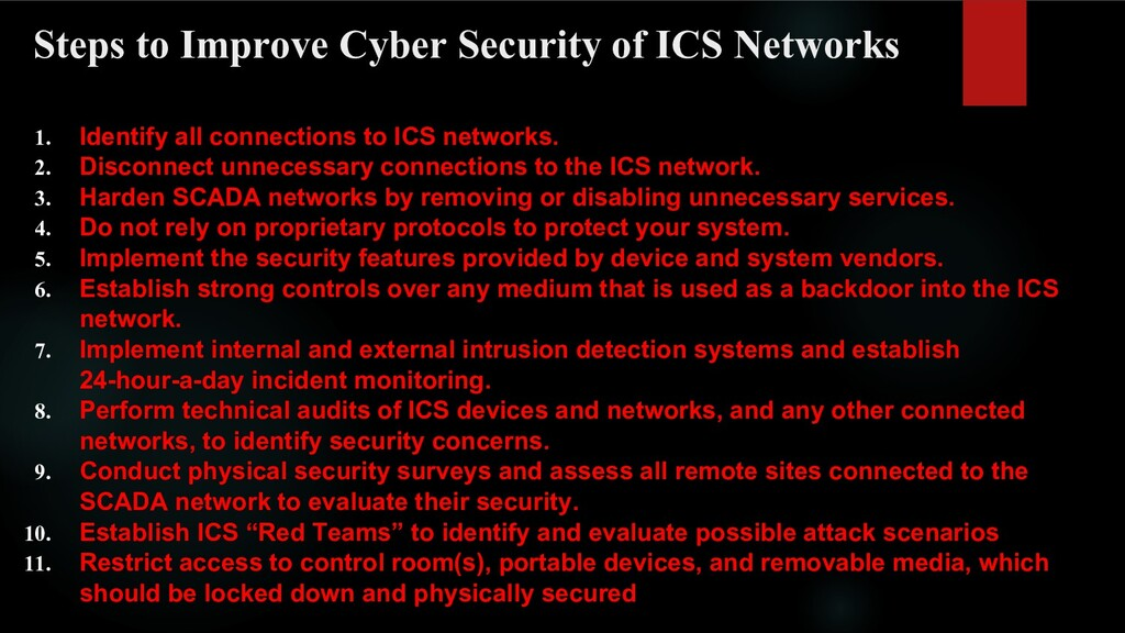 Steps to Improve Cyber Security of ICS Networks...