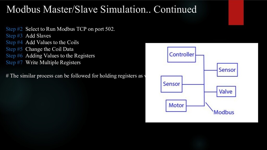 Modbus Master/Slave Simulation.. Continued Step...