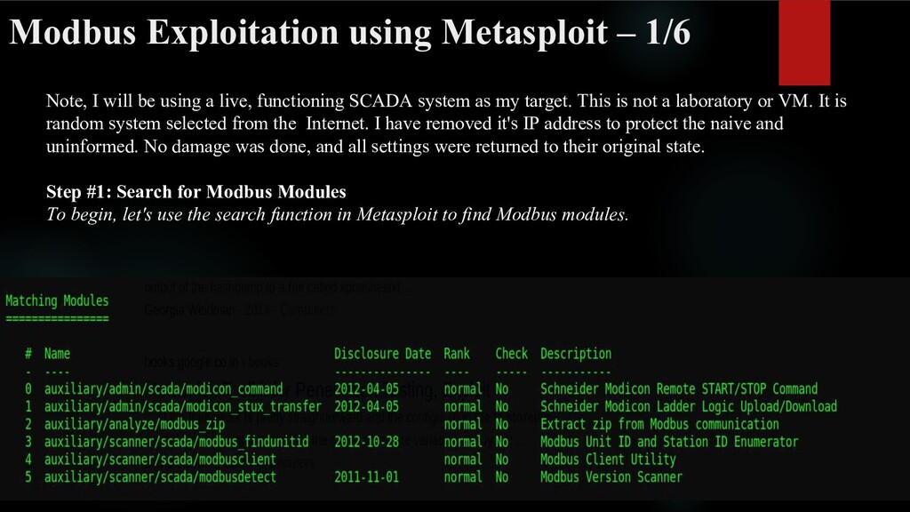Modbus Exploitation using Metasploit – 1/6 Note...