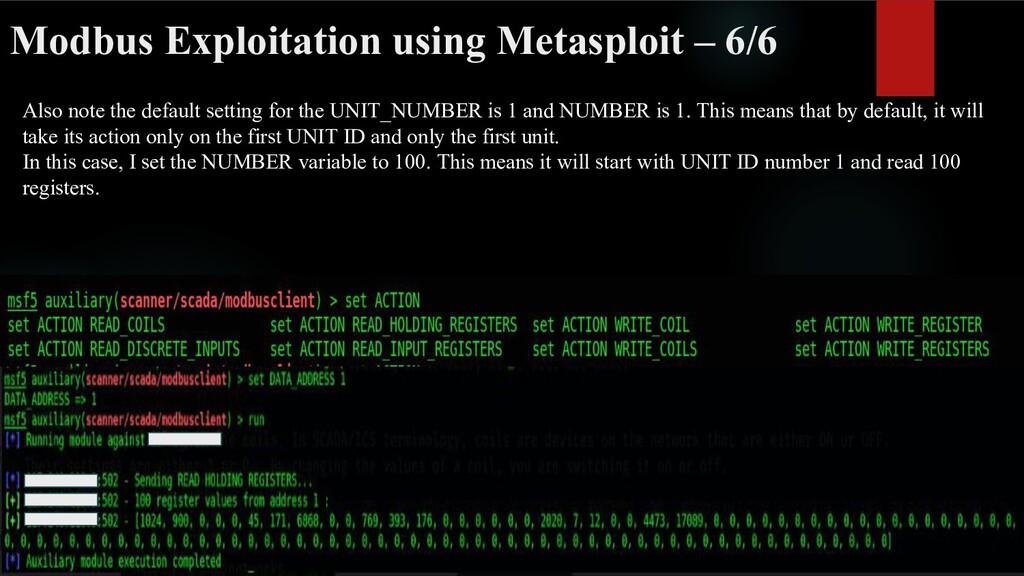 Modbus Exploitation using Metasploit – 6/6 Also...