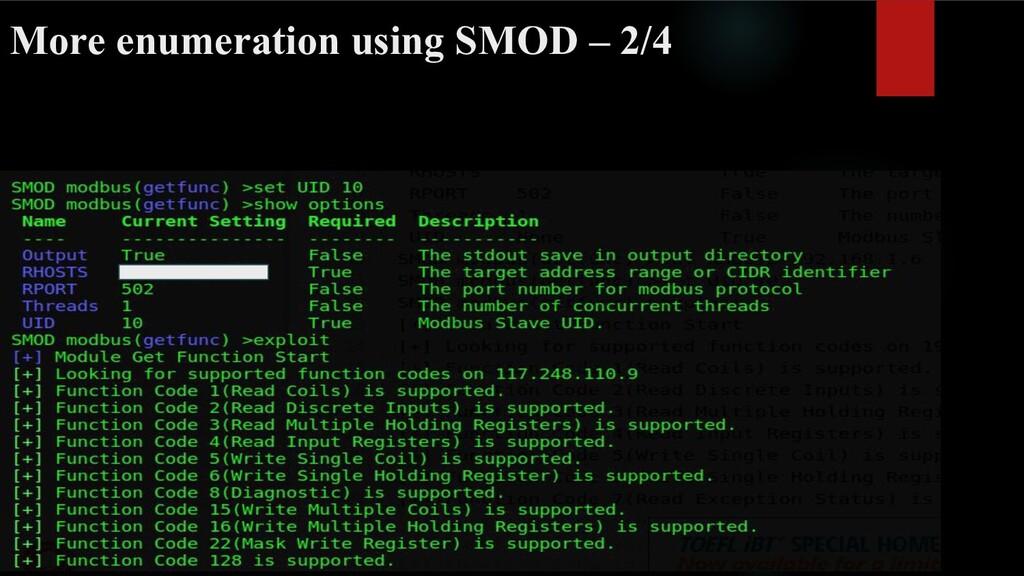 More enumeration using SMOD – 2/4