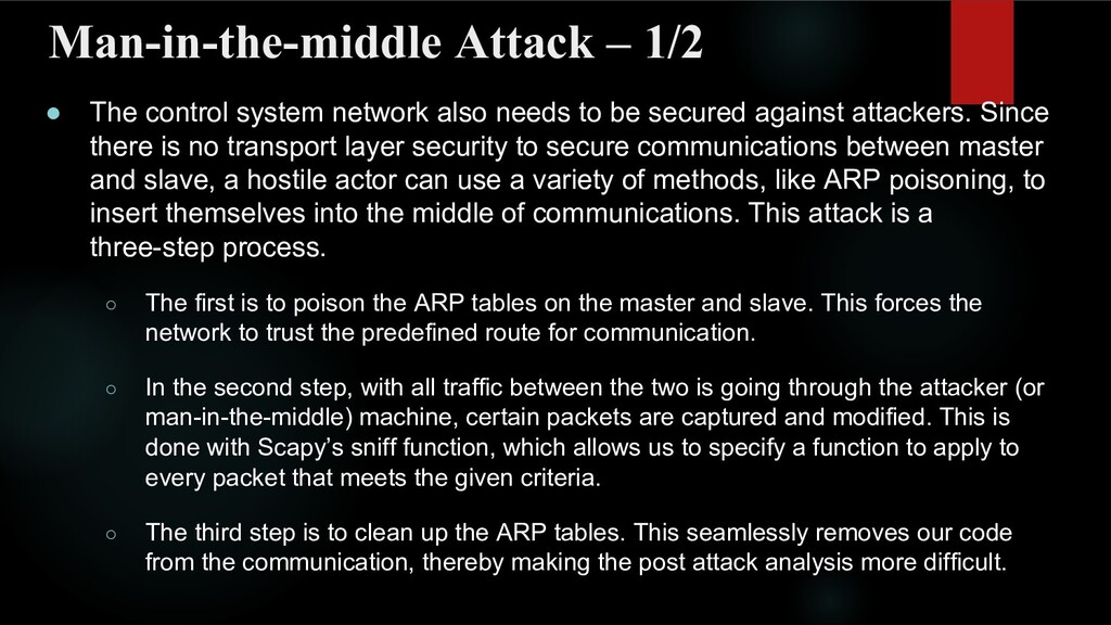 Man-in-the-middle Attack – 1/2 ● The control sy...