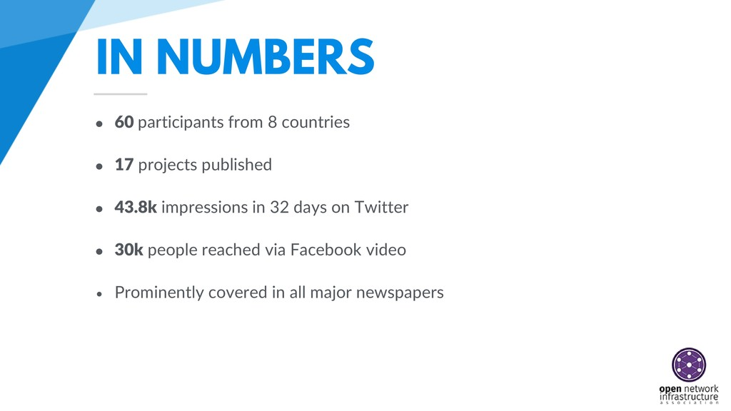 IN NUMBERS • 60 participants from 8 countries •...