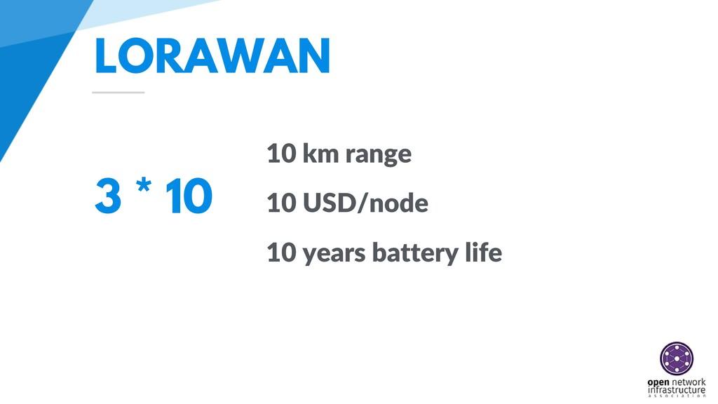 LORAWAN 3 * 10 10 km range 10 USD/node 10 years...