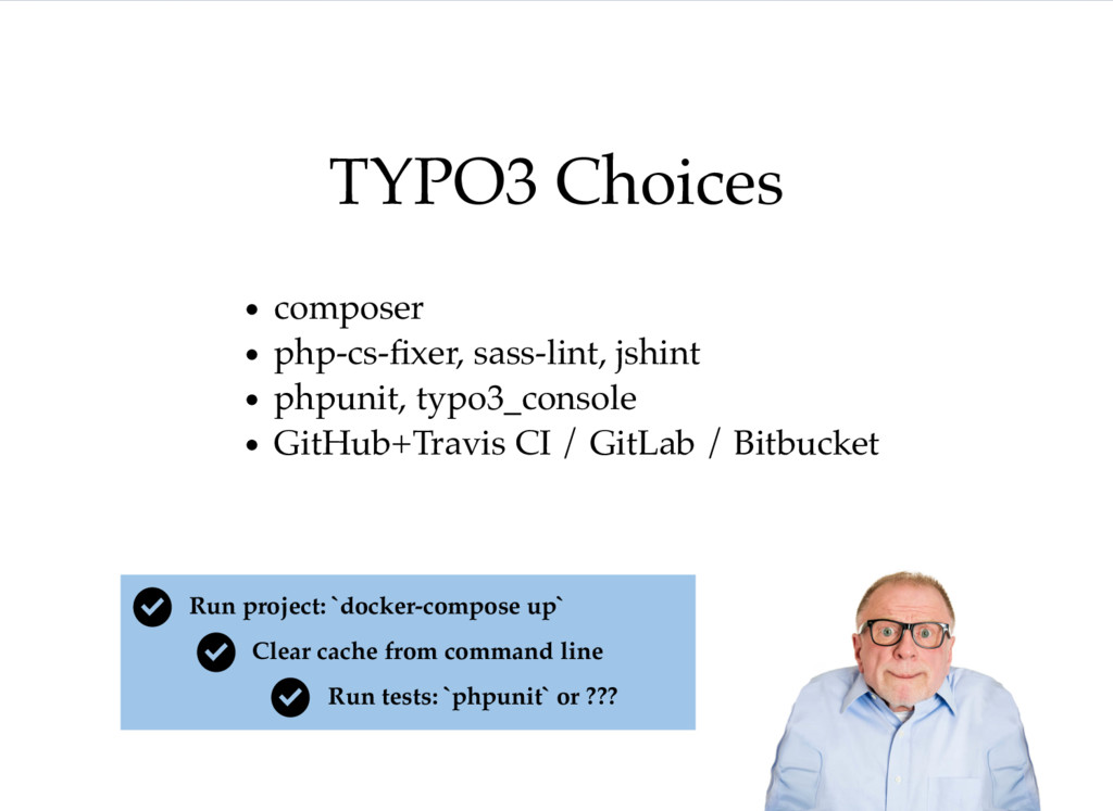 TYPO3 Choices composer php-cs-fixer, sass-lint, ...
