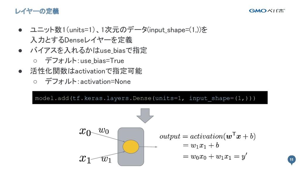 11 11 レイヤーの定義 ● ユニット数1(units=1)、1次元のデータ(input_s...