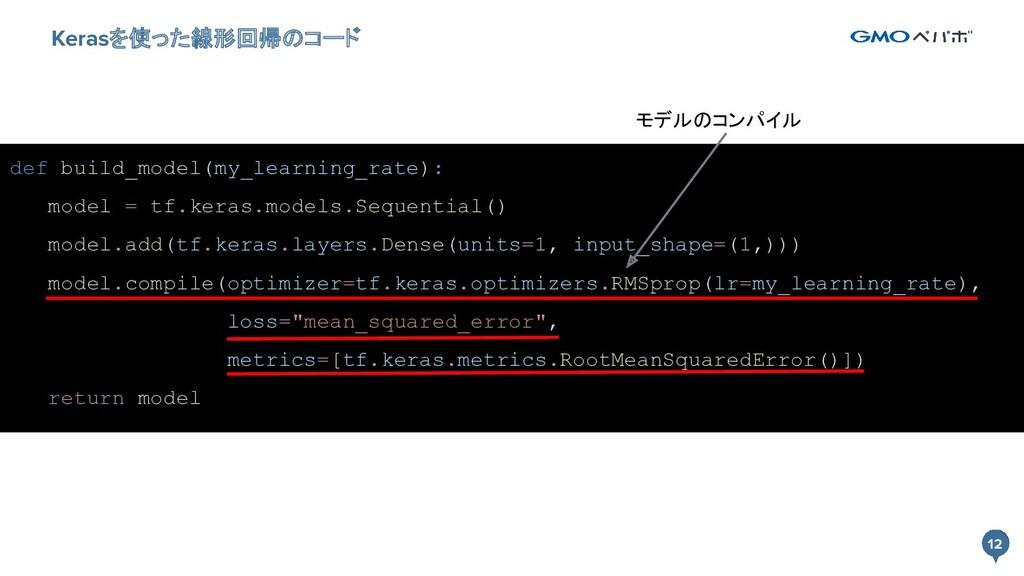 12 12 Kerasを使った線形回帰のコード def build_model(my_lear...